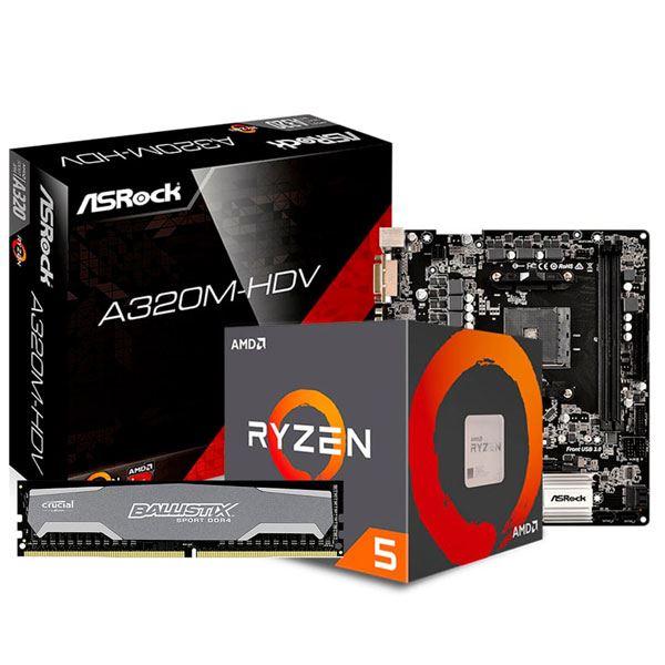 COMBO AMD RYZEN 5 2600 + A320 + 16GB