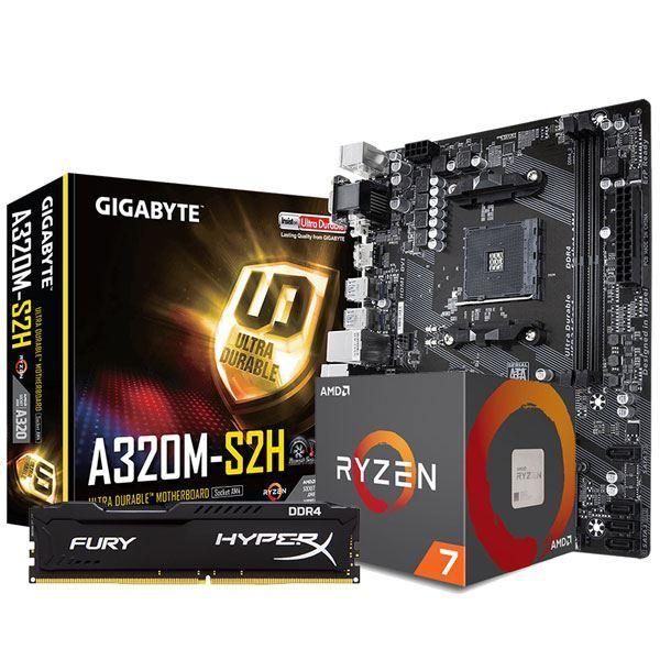COMBO AMD RYZEN 7 2700 + A320 + 8GB 2666