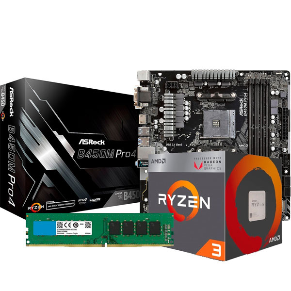 COMBO AMD RYZEN 3 2200G - B450 - 8GB